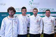 (L-R) Marin Draganja &amp; Mate Pavic both of Croatia &amp; Mariusz Fyrstenberg &amp; Marcin Matkowski both from Poland while official draw at Regent Hotel one day before the BNP Paribas Davis Cup 2014 between Poland and Croatia at Torwar Hall in Warsaw on April 3, 2014.<br /> <br /> Poland, Warsaw, April 3, 2014<br /> <br /> Picture also available in RAW (NEF) or TIFF format on special request.<br /> <br /> For editorial use only. Any commercial or promotional use requires permission.<br /> <br /> Mandatory credit:<br /> Photo by &copy; Adam Nurkiewicz / Mediasport