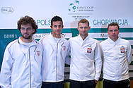 (L-R) Marin Draganja & Mate Pavic both of Croatia & Mariusz Fyrstenberg & Marcin Matkowski both from Poland while official draw at Regent Hotel one day before the BNP Paribas Davis Cup 2014 between Poland and Croatia at Torwar Hall in Warsaw on April 3, 2014.<br /> <br /> Poland, Warsaw, April 3, 2014<br /> <br /> Picture also available in RAW (NEF) or TIFF format on special request.<br /> <br /> For editorial use only. Any commercial or promotional use requires permission.<br /> <br /> Mandatory credit:<br /> Photo by © Adam Nurkiewicz / Mediasport