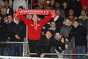 Whitehawk fans during the The FA Cup 2nd Round match between Whitehawk FC and Dagenham and Redbridge at the Enclosed Ground, Whitehawk, United Kingdom on 16 December 2015. Photo by Phil Duncan.