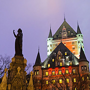 The famous old Fairmont Hotel Chateau Frontenac on the rocky headland in Quebec City overlooking the St Lawrence River.