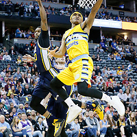 10 April 2016: Denver Nuggets guard Gary Harris (14) goes for the reverse layup during the Utah Jazz 100-84 victory over the Denver Nuggets, at the Pepsi Center, Denver, Colorado, USA.
