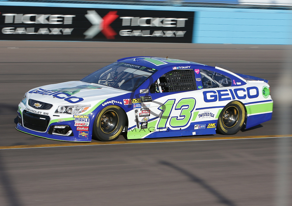 Ty Dillon qualifies for Sunday's NASCAR Cup Series auto race on Friday, March 17, 2017, in Avondale, Ariz.  (AP Photo/Rick Scuteri)