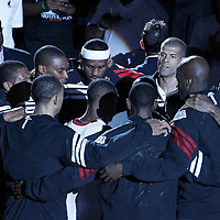 21 June 2012: Heat players gather prior to the Miami Heat 121-106 victory over the Oklahoma City Thunder, in Game 5 of the 2012 NBA Finals, at the AmericanAirlinesArena, Miami, Florida, USA. The Miami Heat wins the series 4-1.