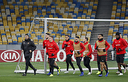 November 7, 2018 - Kiev, Ukraine - Rennes players take part in a training session at the Olympiyskiy Stadium in Kiev, Ukraine, 08 November 2018. Rennes will play against Dynamo Kyiv at the UEFA Europa League Group K second-leg football match at the Olympiyskiy Stadium in Kiev, on November 08. (Credit Image: © Str/NurPhoto via ZUMA Press)