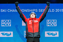 02.03.2019, Seefeld, AUT, FIS Weltmeisterschaften Ski Nordisch, Seefeld 2019, Skisprung, Mixed Team, Siegerehrung, im Bild Weltmeister und Goldmedaillengewinner Dawid Kubacki (POL) // World champion and Gold medalist Dawid Kubacki of Poland during the winner Ceremony for the mixed team competition in ski jumping of nordic combination of FIS Nordic Ski World Championships 2019. Seefeld, Austria on 2019/03/02. EXPA Pictures © 2019, PhotoCredit: EXPA/ Stefan Adelsberger