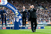 Newcastle United manager Rafael Benitez applauds the crowd as he goes up to collect his EFL Sky Bet Championship winners' medal following the EFL Sky Bet Championship match between Newcastle United and Barnsley at St. James's Park, Newcastle, England on 7 May 2017. Photo by Craig Doyle.