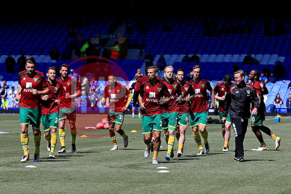Norwich City players warm up - Mandatory byline: Matt McNulty/JMP - 15/05/2016 - FOOTBALL - Goodison Park - Liverpool, England - Everton v Norwich City - Barclays Premier League