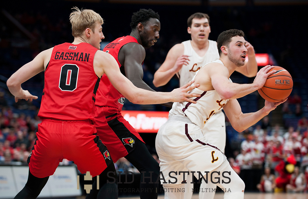 Loyola University Chicago battles Illinois State University during the championship game of the Missouri Valley Conference men's basketball tournament at Scottrade Center in St. Louis Sunday, March 4, 2018. Photo © copyright 2018 Sid Hastings.