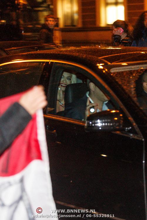 NLD/Amsterdam/20131110 - Rita Ora leaving the hotel for the MTV EMA 2013