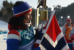 February 25, 2018 - Pyeongchang, South Korea - MARIT BJOERGEN of Norway celebrates her win following  the Ladies' 30km Mass Start Classic cross-country ski racing event in the PyeongChang Olympic Games. (Credit Image: © Christopher Levy via ZUMA Wire)