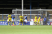 Peterborough United striker Tom Nichols (21) scores 3-2 to Peterborough during the EFL Cup match between Peterborough United and AFC Wimbledon at ABAX Stadium, Peterborough, England on 9 August 2016. Photo by Stuart Butcher.