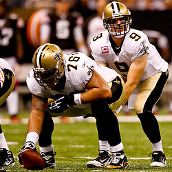 Oct 24, 2010; New Orleans, LA, USA; New Orleans Saints quarterback Drew Brees (9) under center during the first half against the Cleveland Browns at the Louisiana Superdome. Mandatory Credit: Derick E. Hingle