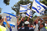 Israel, Haifa University a Pro Palestinian demonstration. Israeli supports in a contra demonstration
