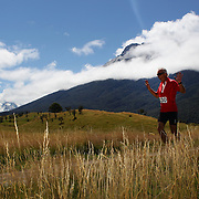 Felix Klein in action during the run leg of the Paradise Triathlon and Duathlon series with breathtaking views of Mount Aspiring National Park, Paradise, Glenorchy, South Island, New Zealand. 18th February 2012. Photo Tim Clayton