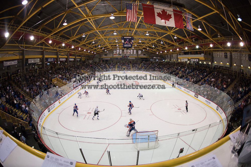 KELOWNA, CANADA - OCTOBER 2: Edmonton Oilers take on the Los Angeles Kings during NHL pre season for Kraft Hockeyville on October 2, 2016 at Kal Tire Place in Vernon, British Columbia, Canada.  (Photo by Marissa Baecker/Shoot the Breeze)  *** Local Caption ***