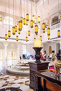 Morning sun streams into the lobby of the ITC Hotel Rajputana in Jaipur, India. <br /> <br /> Nikon D750 28mm  ISO 8000  f11  1/40s