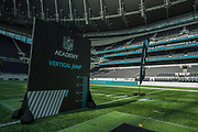 Tottenham Stadium get dressed up for the time in NFL colours, set out for the NFL Academy stadium show during the NFL Media Day held at Tottenham Hotspur Stadium, London, United Kingdom on 2 July 2019.