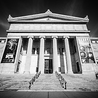 Field Museum of Natural History in Chicago, Illinois in black and white. The Field Museum is one of the most popular things to do in Chicago and is a top Chicago attraction.