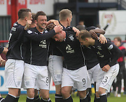 Peter MacDonald (9) is congratulated after putting Dundee two ahead - Dundee v Dumbarton, SPFL Championship, Helicopter Saturday at Dens Park<br /> <br />  - &copy; David Young - www.davidyoungphoto.co.uk - email: davidyoungphoto@gmail.com