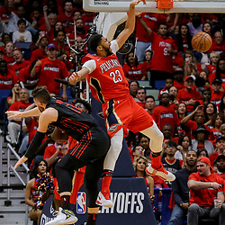 Apr 19, 2018; New Orleans, LA, USA; New Orleans Pelicans forward Anthony Davis (23) dunks over Portland Trail Blazers center Jusuf Nurkic (27) during the second half in game three of the first round of the 2018 NBA Playoffs at the Smoothie King Center. The Pelicans defeated the Trail Blazers 119-102.  Mandatory Credit: Derick E. Hingle-USA TODAY Sports