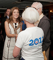 Caroline Kennedy speaks with Ann and Cliff Rueter after her address in support of President Obama to the large crowd gathered at Hart's Turkey Farm in Meredith Thursday afternoon.  (Karen Bobotas/for the Laconia Daily Sun)