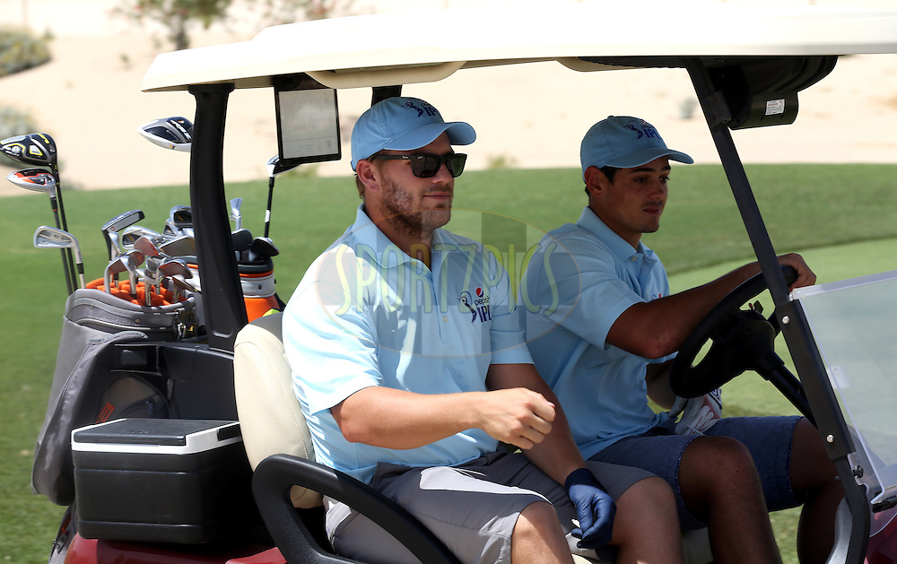 Aaron Finch of the Sunrisers Hyderabad and Quinton de Kock of the Delhi Daredevils  during the Pepsi Indian Premier League 2014 golf day held at the Ernie Els Club at Sports City , Dubai, United Arab Emirates on the 20th April 2014<br /> <br /> Photo by Sandeep Shetty  / IPL / SPORTZPICS