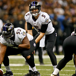 Nov 24, 2014; New Orleans, LA, USA; Baltimore Ravens quarterback Joe Flacco (5) against the New Orleans Saints during the first quarter of a game at the Mercedes-Benz Superdome. Mandatory Credit: Derick E. Hingle-USA TODAY Sports