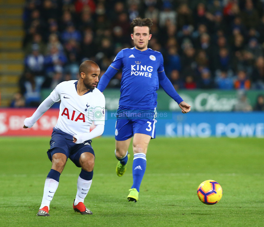 December 8, 2018 - Leicester, England, United Kingdom - Leicester, December 08, 2018.L-R Tottenham Hotspur's Serge Aurier and Leicester City's Ben Chilwell.during the English Premier League match between Leicester City and Tottenham Hotspur at the King Power Stadium in Leicester, Britain, 8 December 2018  (Credit Image: © Action Foto Sport/NurPhoto via ZUMA Press)