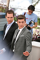 Matthew Mcconaughey, Zac Efron,  at The Paperboy photocall at the 65th Cannes Film Festival France. Thursday 24th May 2012 in Cannes Film Festival, France.