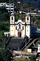 view of the Igreja de Santa Efigenia dos Pretos of the unesco world heritage city of ouro preto in minas gerais brazil