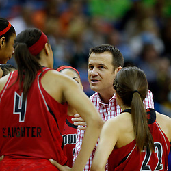 April 7, 2013; New Orleans, LA, USA; Louisville Cardinals head coach Jeff Walz instructs in a huddle against the California Golden Bears during the first half in the semifinals during the 2013 NCAA womens Final Four at the New Orleans Arena. Mandatory Credit: Derick E. Hingle-USA TODAY Sports
