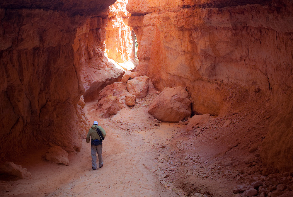Landscape views of Bryce Canyon National Park.  A view through a narrow passage called Wall Street.  The lone hiker feels a sense of smallness in the surrounding glow of red sandstone cliffs.