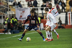 12.03.2016, Estadio de Vallecas, Madrid, ESP, Primera Division, Rayo Vallecano vs SD Eibar, 29. Runde, im Bild Rayo Vallecano's Diego LLorente (L) and Bebe and Sociedad Deportiva Eibar's Takashi Inui // during the Spanish Primera Division 29th round match between Rayo Vallecano and SD Eibar at the Estadio de Vallecas in Madrid, Spain on 2016/03/12. EXPA Pictures © 2016, PhotoCredit: EXPA/ Alterphotos/ Borja B.Hojas<br /> <br /> *****ATTENTION - OUT of ESP, SUI*****
