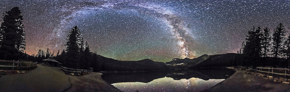 A 360&deg; panorama of the Milky Way and night sky taken at Cameron Lake in Waterton Lakes National Park, Alberta, Canada. I shot this Sept 21, 2014 on a very clear night with no noticeable aurora and very little airglow. The ground is lit solely by starlight. The lake was very calm and reflects the southern Milky Way.<br /> <br /> This is a stitch of 8 segments, each shot with the 15mm full-frame fisheye lens, for 1 minute at f/2.8 and with the Canon 6D at ISO 4000. I used PTGui to stitch the segments, with this version being an equirectangular projection.