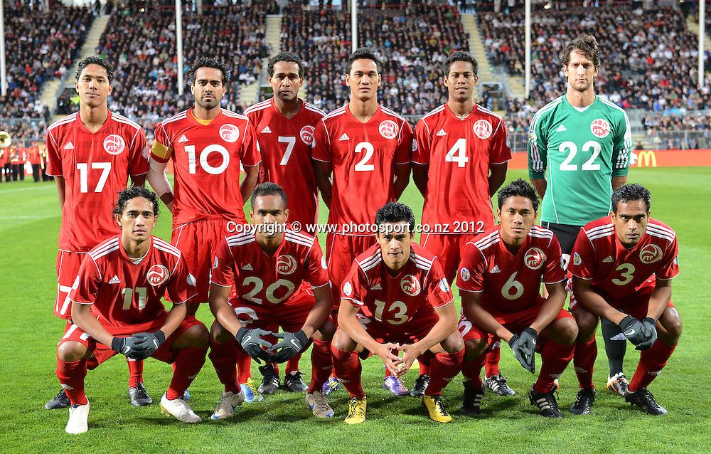 Tahiti team photo. New Zealand All Whites v Tahiti. FIFA World Cup Qualifier Football match at AMI Stadium. Christchurch, New Zealand. Tuesday 16 October 2012. Photo: Andrew Cornaga/photosport.co.nz