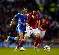 Photo: Jed Wee.<br /> England v Greece. International Friendly. 16/08/2006.<br /> <br /> England's Owen Hargreaves (R) put in a man of the match performance.