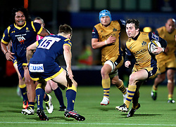 Rhodri Williams of Bristol Rugby runs with the ball at Chris Pennell (capt) of Worcester Warriors - Mandatory by-line: Robbie Stephenson/JMP - 04/11/2016 - RUGBY - Sixways Stadium - Worcester, England - Worcester Warriors v Bristol Rugby - Anglo Welsh Cup