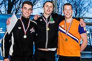 Zwemmen Amsterdam NJJK korte baan 2015 : (L-R) Ruben van Leeuwen, Ben Schwietert, Peter Rothengatter
