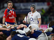 Referee Alhambra Nievas and Bianca Blackburn at a scrum, England Women v France Women in the 6 Nations at Twickenham Stadium, Twickenham, England, on 21st March 2015