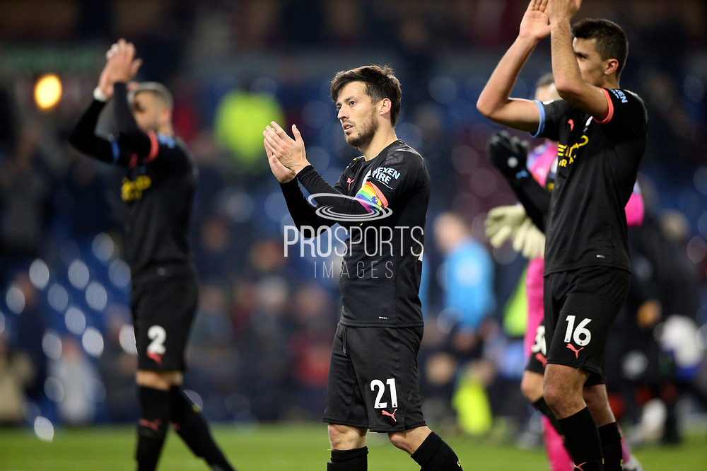 Manchester City midfielder David Silva (21) applauds the fans during the Premier League match between Burnley and Manchester City at Turf Moor, Burnley, England on 3 December 2019.