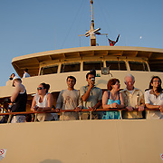 People on the Ferry to Manly Beach at sunset.