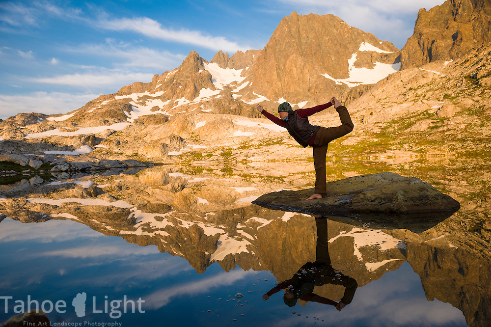 Morning Yoga during sunrise at the base of Ritter peak as seen from the headwaters above Nydiver Lake in the Ansel Adams wilderness. This was day 4 of a 5 day cross country route that was a version on the popular Minaret Lake-Thousand Island Lake loop.