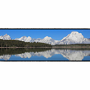 Grand Tetons - North Jackson Lake, WY - Panoramic - Custom Border