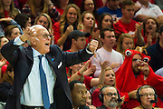 DALLAS, TX - FEBRUARY 19: SMU Mustangs head coach Larry Brown reacts on the bench against the Temple Owls on February 19, 2015 at Moody Coliseum in Dallas, Texas.  (Photo by Cooper Neill/Getty Images) *** Local Caption *** Larry Brown
