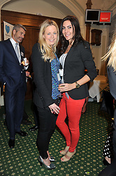 Left to right, ASTRID HARBORD and LOUISE COLE at a reception for The Mirela Fund in partnership with Hope and Homes for Children hosted by Natalie Pinkham in The Churchill Room, House of Commons, London on 30th April 2013.