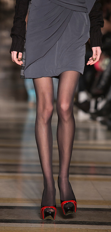 © Licensed to London News Pictures. 15 February 2014, London, England, UK. A model with very skinny legs walks the runway at the Ashley Isham show during London Fashion Week AW14 at Fashion Scout/Freemasons' Hall. Photo credit: Bettina Strenske/LNP