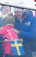 28-2-2014 - FALUN Princess Estelle and princess Victoria and prince Daniel  , prince Carl Philip and king Carl Gustaf and Queen Silvia  and Crown Prince Haakon and Crown Princess Mette-Marit and Princess Ingrid Alexandra and Prince Sverre Magnus of Norway  during Falun 2015 FIS Nordic World Ski Championships 2015 in Sweden . COPYRIGHT ROBIN UTRECHT