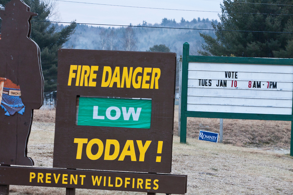 A sign outside the Grafton Fire Station, a local polling place for the New Hampshire Primary, on Tuesday, January 10, 2012 in Grafton, NH. Brendan Hoffman for the New York Times