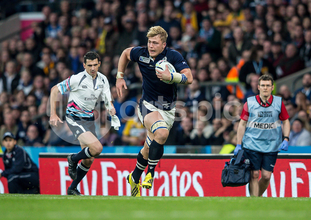 David Denton of Scotland during the Rugby World Cup Quarter Final match between Australia and Scotland played at Twickenham Stadium, London on the 18th of October 2015. Photo by Liam McAvoy.