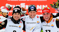 26.02.2015, Lugnet Ski Stadium, Falun, SWE, FIS Weltmeisterschaften Ski Nordisch, Nordische Kombination, Flower Ceremony, im Bild (v. l.) Francois Braud (FRA), Bernhard Gruber (AUT) und Johannes Rydzek (GER) // (f. l.) Francois Braud (FRA), Bernhard Gruber (AUT) und Johannes Rydzek (GER) during the Nordic Combined Flower Ceremony of the FIS Nordic Ski World Championships 2015 at the Lugnet Ski Stadium, Falun, Sweden on 2015/02/26. EXPA Pictures © 2015, PhotoCredit: EXPA/ SM